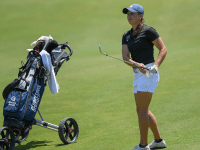 Senior Christina Parsells tied a team record by shooting five under par 67 on Saturday. GU HOYAS