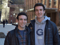 AMBER GILLETTE/THE HOYA | Ryan Zuccala (MSB '20), left, and John Dolan (MSB '20) want to pressure the administration to reduce tuition.