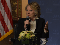 AMBER GILLETTE/THE HOYA | Former Secretary of State Hillary Clinton said that President Donald Trump's administration must reinforce weakening relationships with European and Asian countries at an event in Gaston Hall on Wednesday.