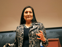 "ROCHELLE VAYNTRUB FOR THE HOYA | In an event titled ""Intersectional Feminism in Congress,"" Deb Haaland (D-N.M.) said she was concerned about the fate of Native American communities in America."