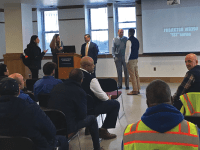 WILL SIMON/THE HOYA  | Employees of Georgetown's central heating and cooling plant met with university administrators March 19.