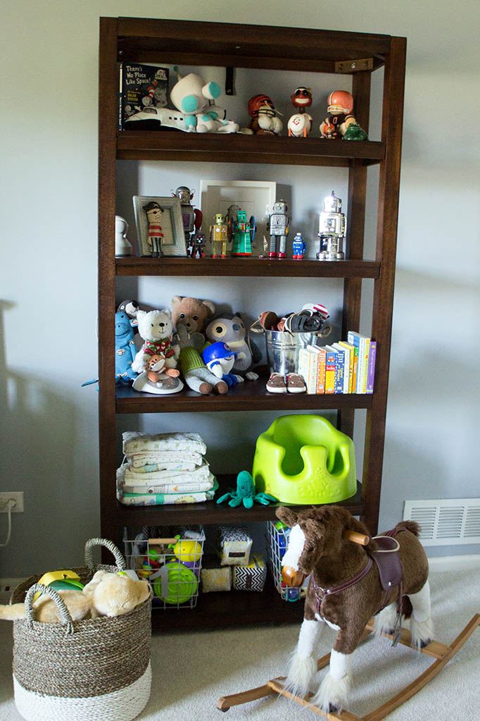 Baby Andrew's space cowboy themed nursery. Parsons shelf.