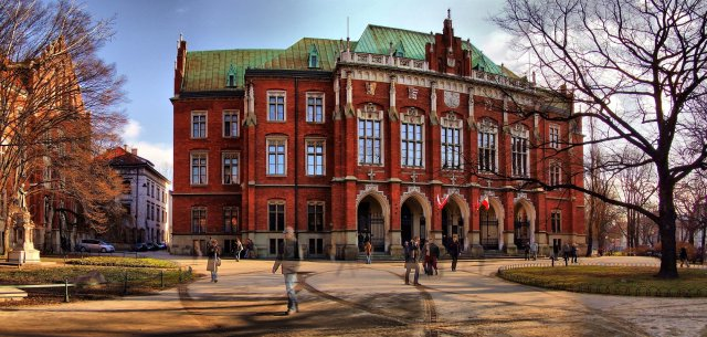 The facade of the Jagiellonian University in Poland; Image source