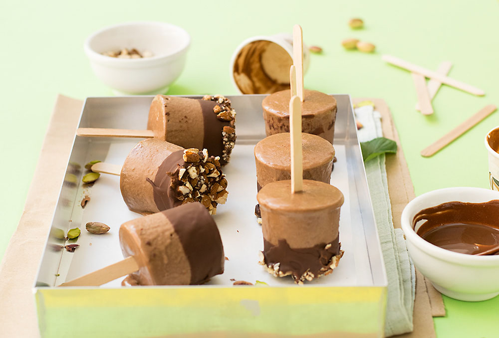 Tahini and chocolate fudge popsicles (V & GF) 2