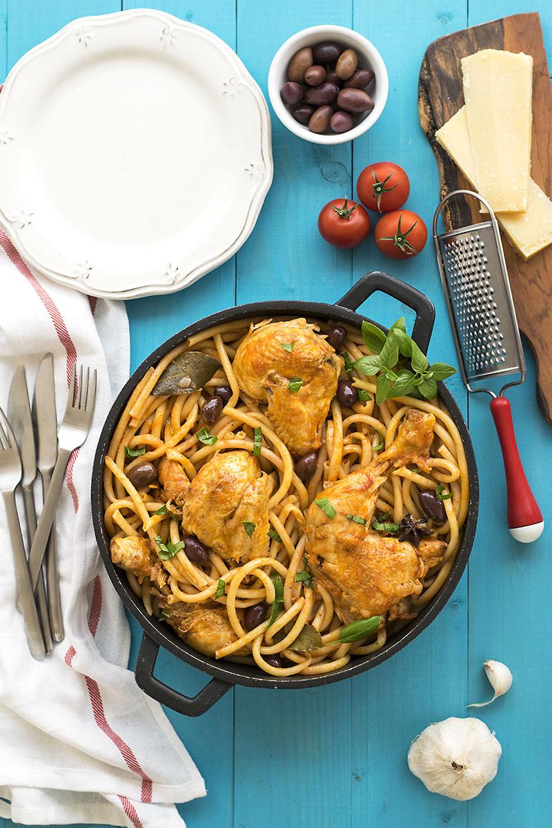 Whole chicken cacciatore stew with bucatini pasta 2