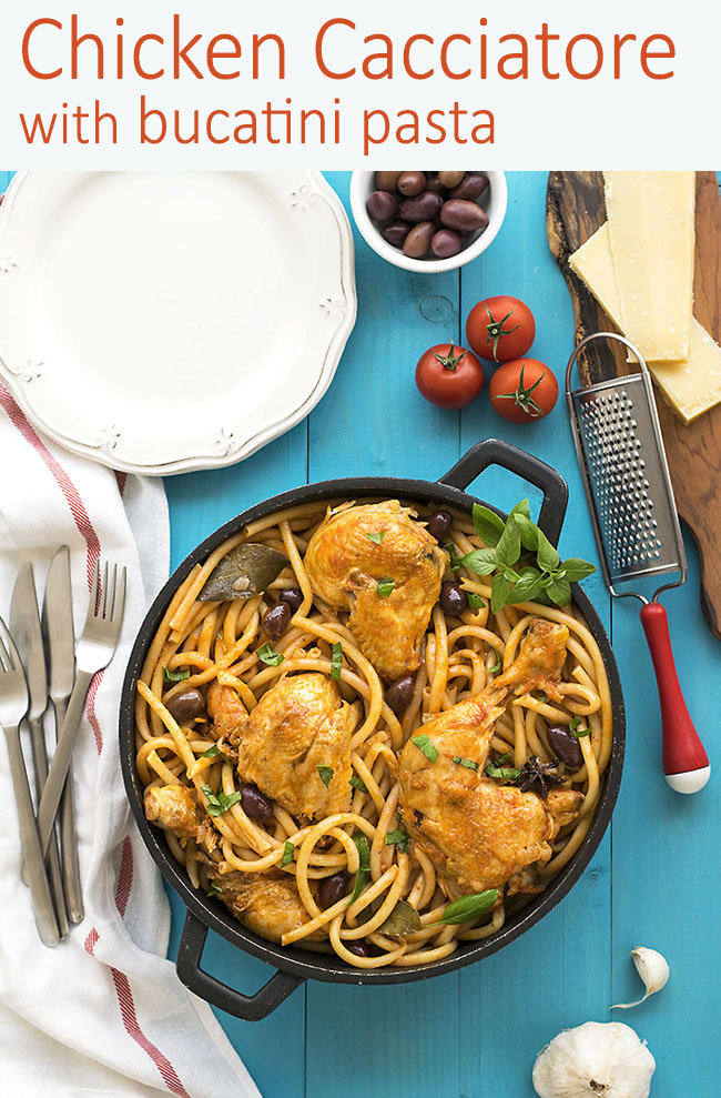 Whole chicken cacciatore stew with bucatini pasta 6