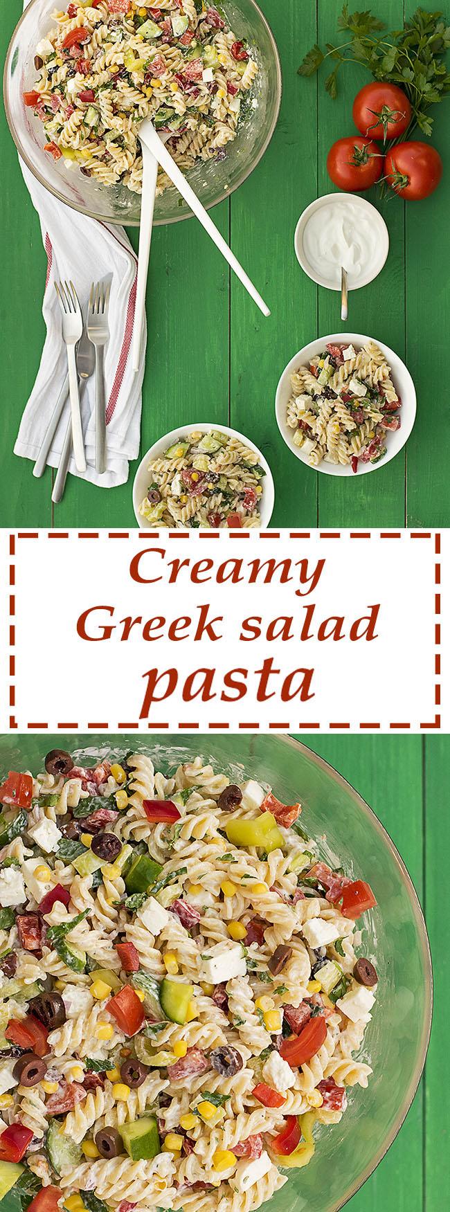 Creamy Greek salad pasta recipe 6