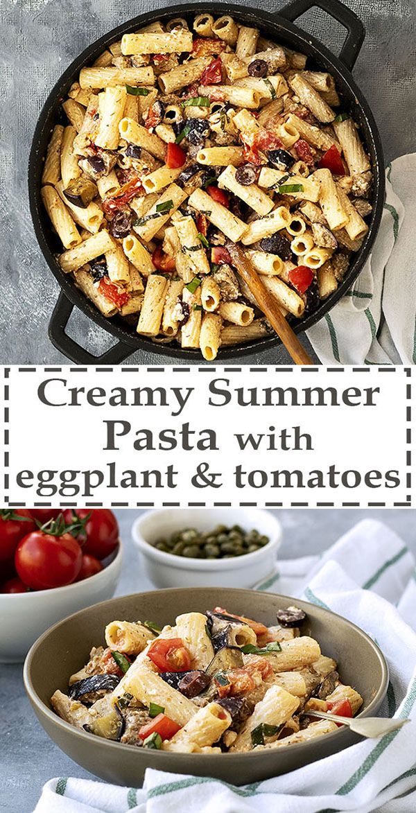Creamy summer pasta with eggplant and tomatoes 7