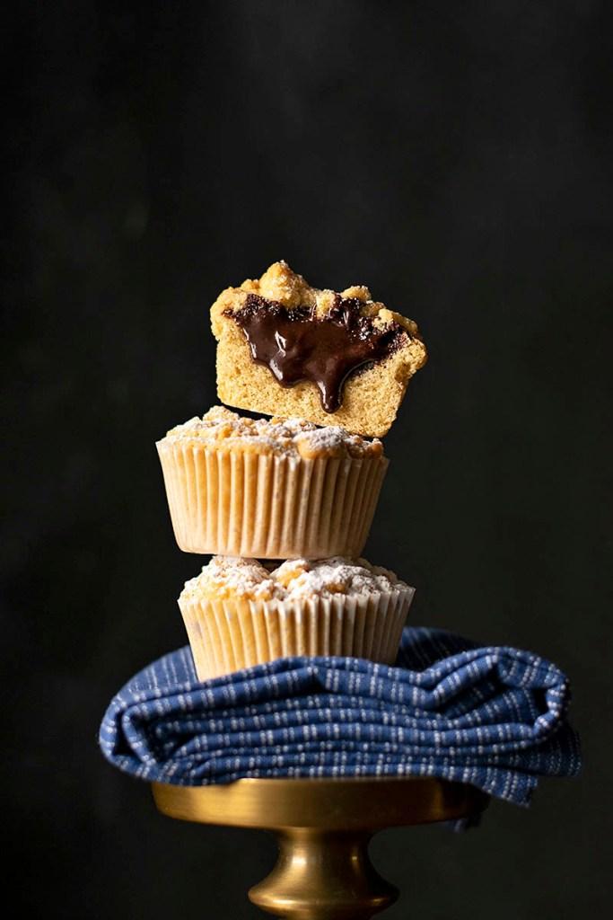 Tahini & Chocolate (or Nutella) stuffed crumble muffins 2