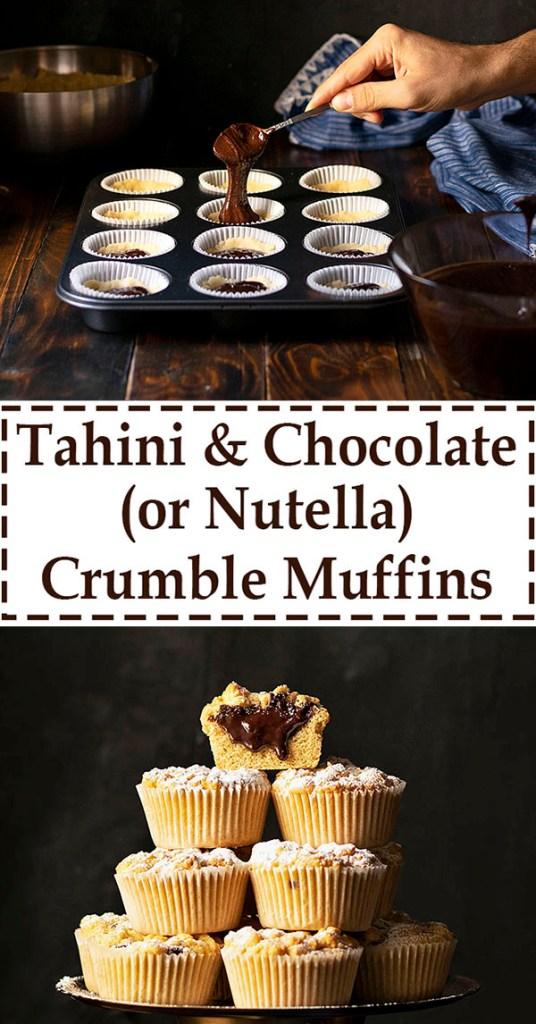 Tahini & Chocolate (or Nutella) stuffed crumble muffins 7