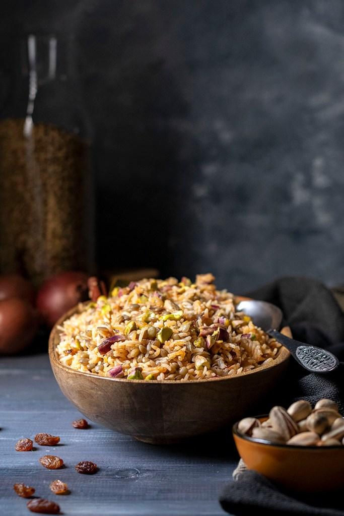 Lebanese Rice and Lentil Pilaf (Mujadara) - Vegan