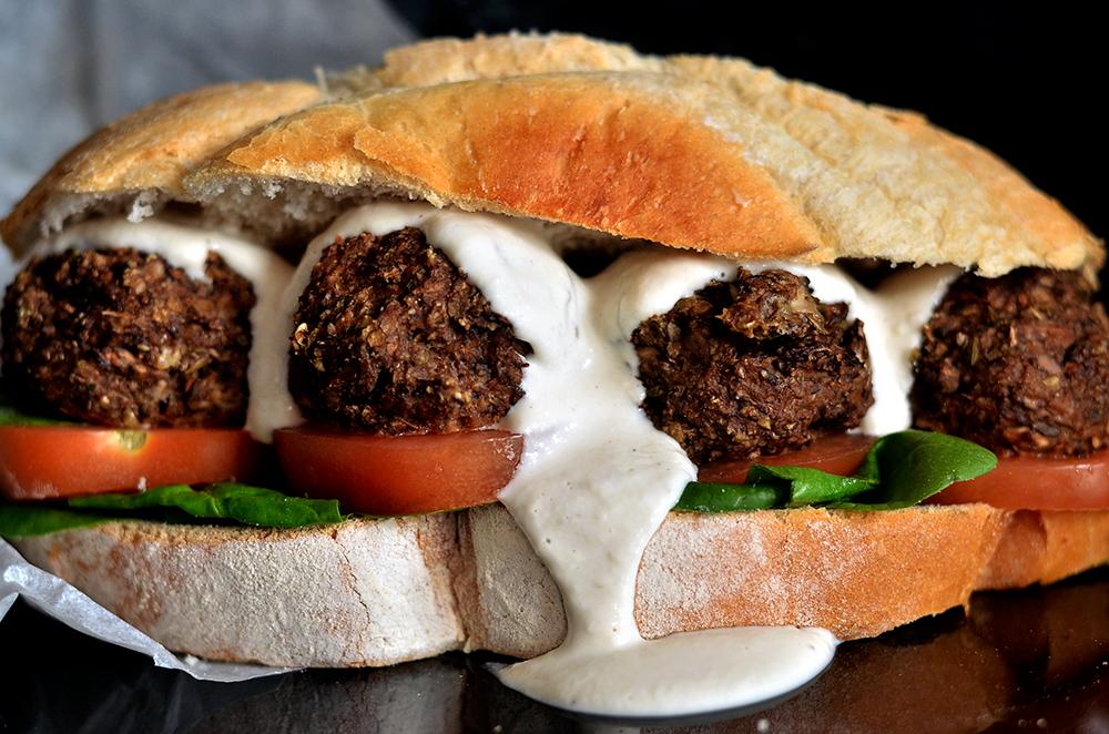 Mushroom Meatball & Garlic Cream Sandwich