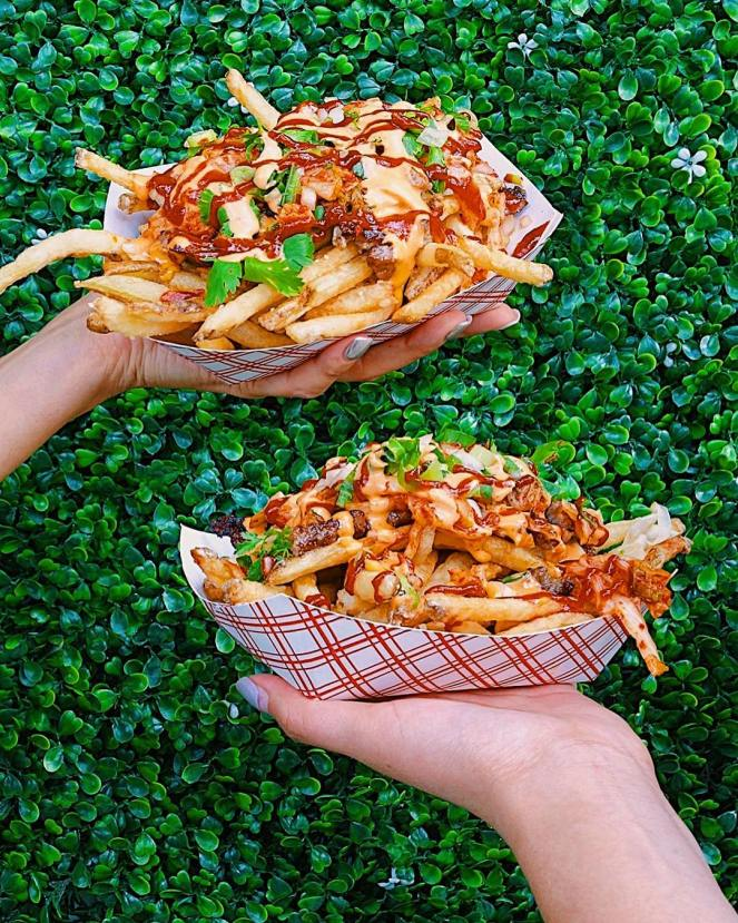 K-Fries: Bulgogi, Kimchi, fresh cut fries with onions, cilantro, Sriracha mayo, and K-sauce