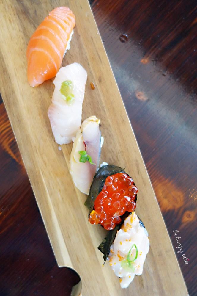 Nigiri - Saba, Sake-toro, Hotate, Kampachi, Ikura, Unagi