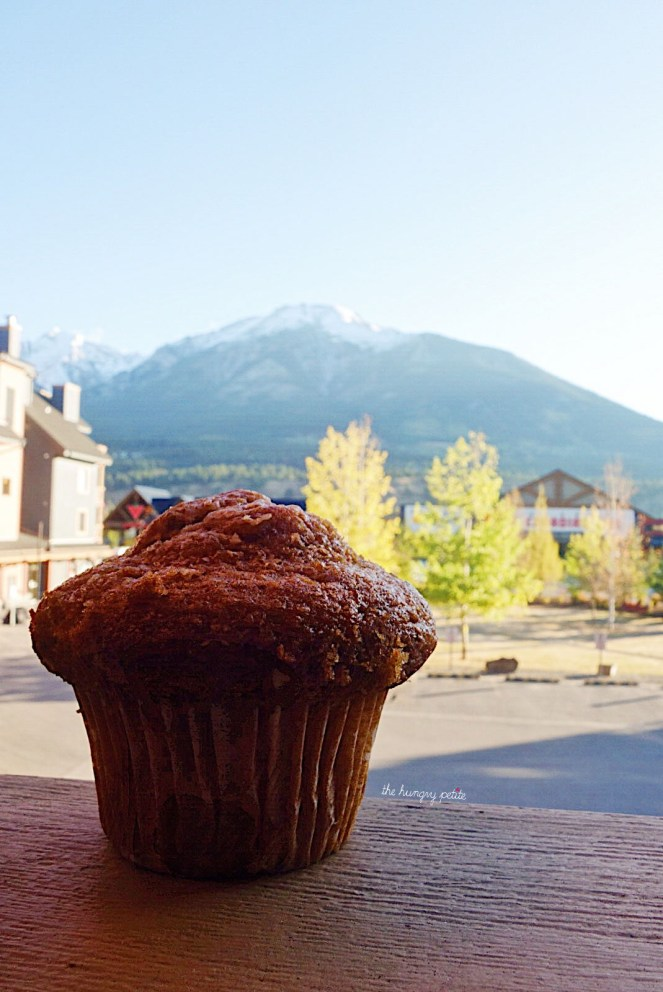 Safeway carrot muffin and our view from the VRBO rental