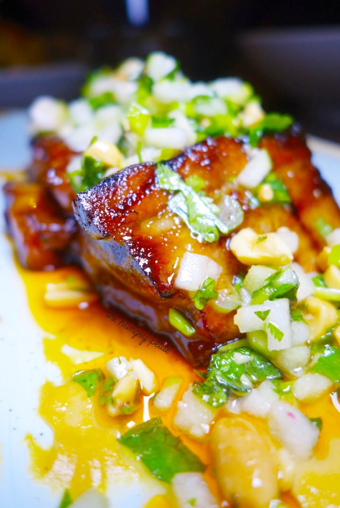 Char Sui Pork Belly, tahini dijon, granny smith apple, lime, peanuts, cilantro, mint chili from Crazy Weed Kitchen