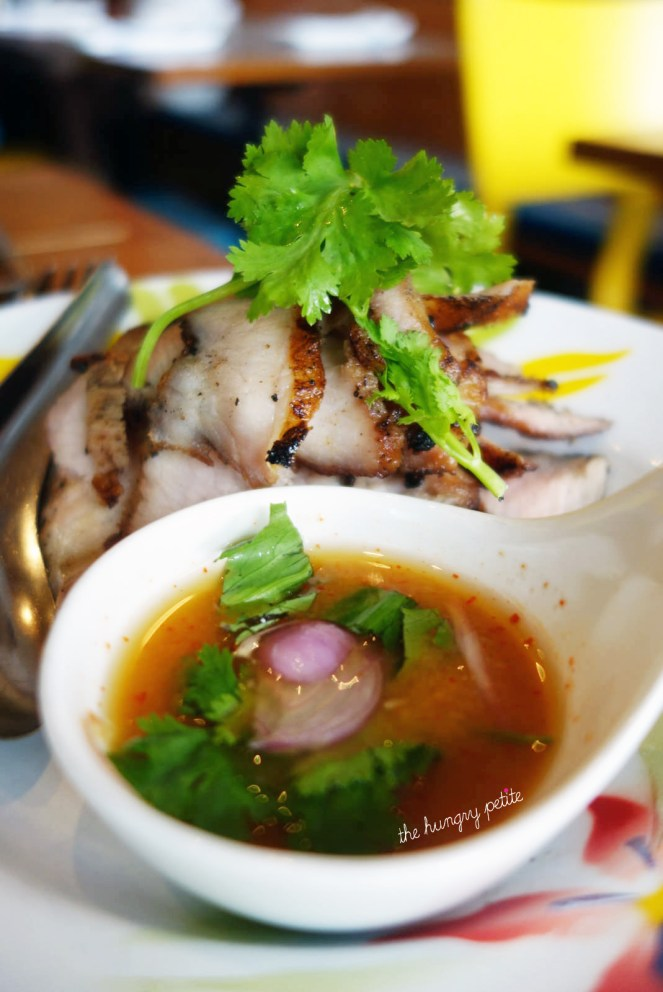 Grilled Pork Cheeks: Compart Duroc pork cheeks marinated in fish sauce, palm sugar served with Jeaw sauce.. DELICIOUS!