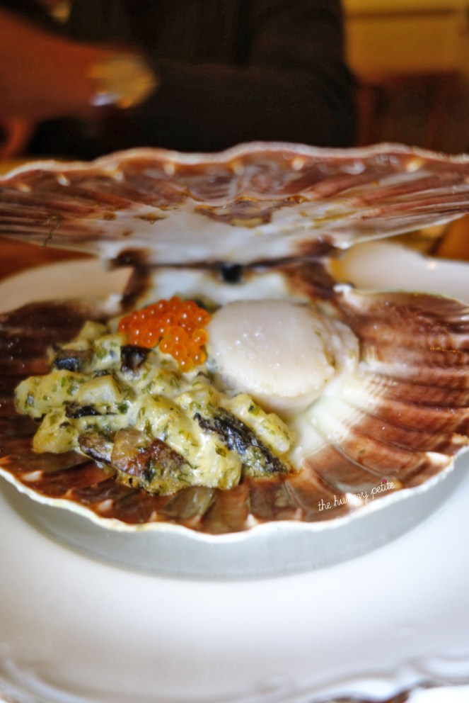 Coquille St. Jacques scallop - potato, portobello, trout roe