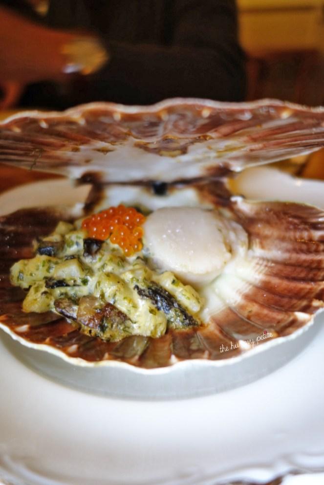 Coquille St. Jacques scallop - potato, portobello, trout roe
