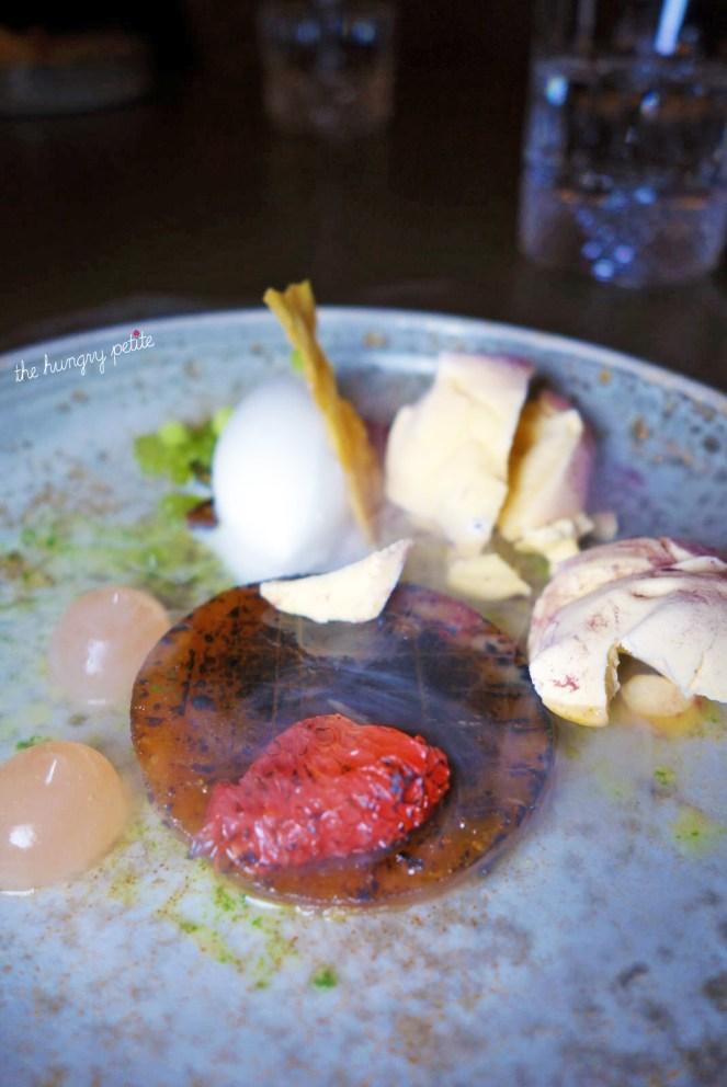 Apple Pumpkin: Roasted pumpkin, coconut ice cream, pumpkin seed, charred grapefruit, liquid nitrogen pumpkin meringue