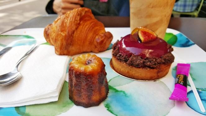 Croissant, Canelé (just ok), and seasonal fig dessert