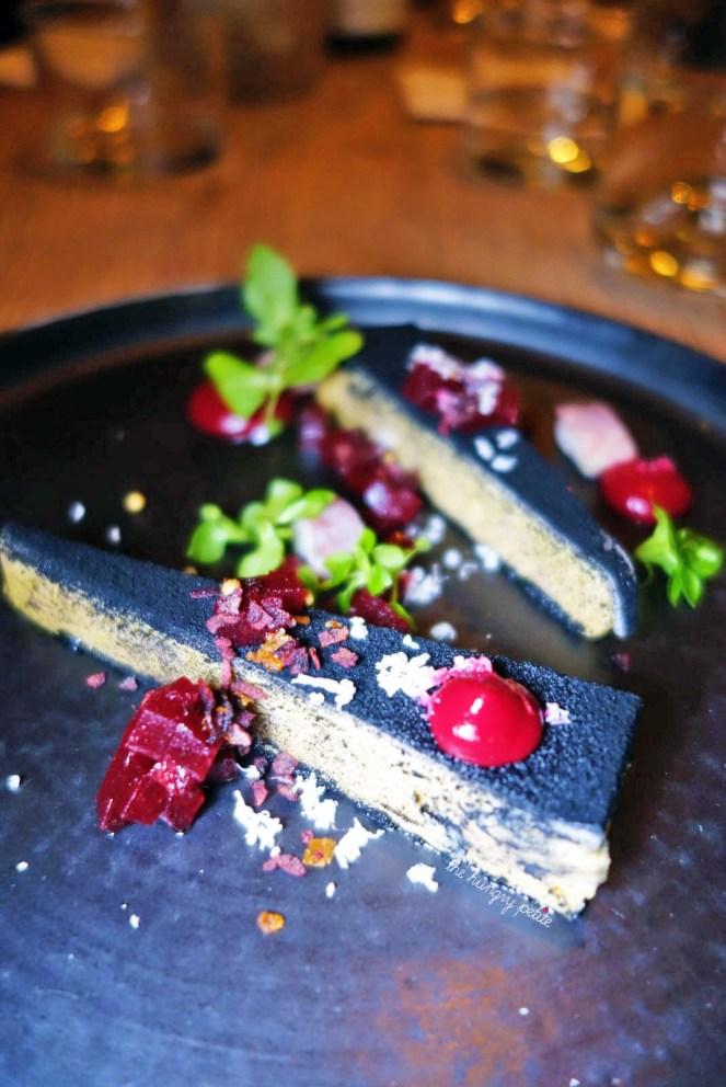 Foie gras, beets, smoked eels and horseradish