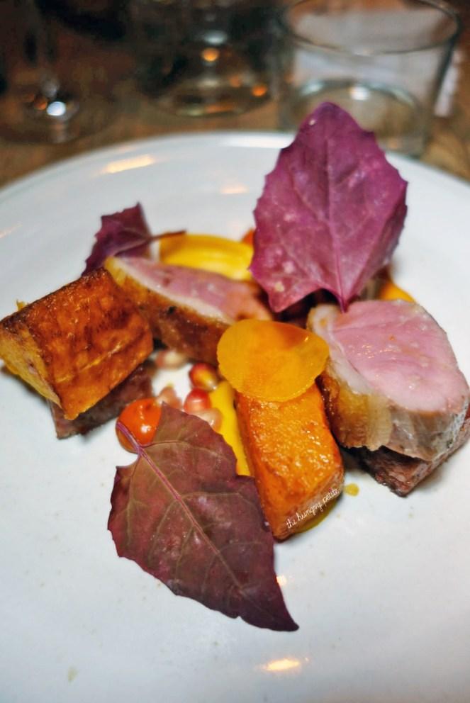 Roasted lamb leg, Merguez, butternut squash, smoked yogurt and pomegranate