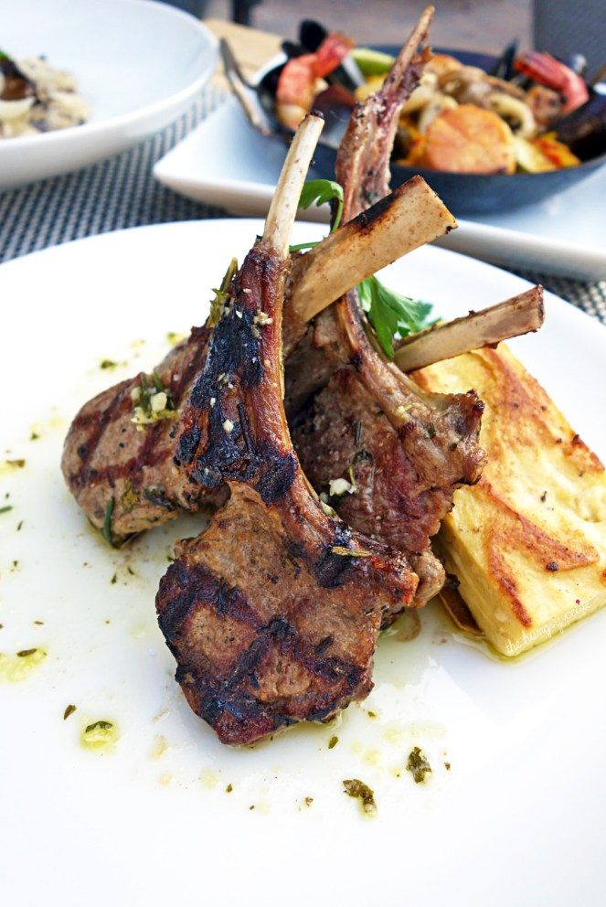 Rosemary Lamb Chops - New Zealand rack of lamb, crisp chickpea panisse, organic wild mushrooms, tomato confit, rosemary smoke. I love a good lamb chop dish, and these were well cooked and seasoned. Definitely would order this again. $39