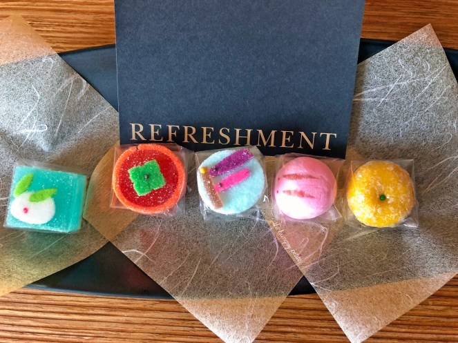 If you stay at the Intercontinental Osaka, you get these cute little gummy, marshmallow-y petit fours