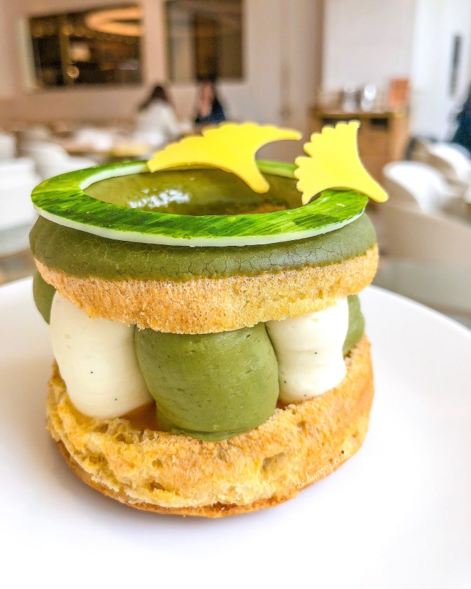 Dominique Ansel Bakery Japan exclusive Paris-Tokyo, a twist on the traditional Paris Brest with matcha ganache and soft passion fruit curd.