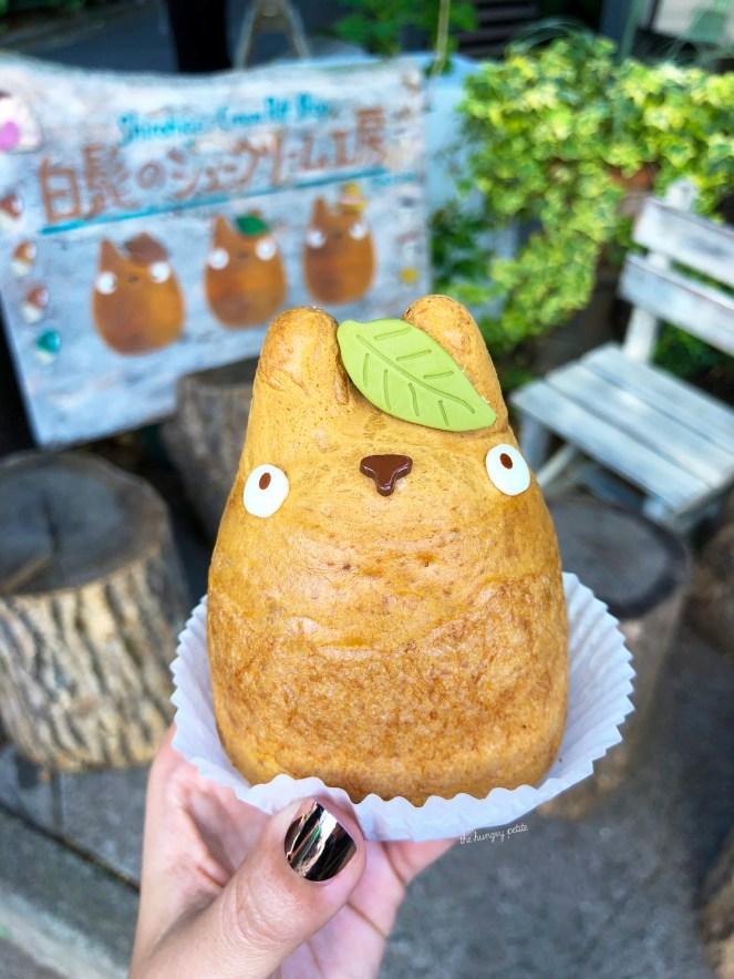 Totoro! Shirohige's Cream Puffs, Tokyo - Custard filled Totoro cream puff.