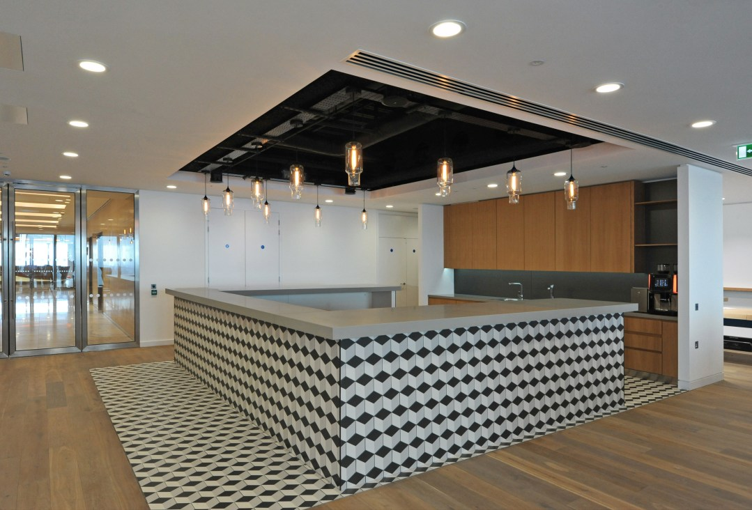 Lancashire Insurance offices black and white tiled bar 29th floor of Walkie Talkie building