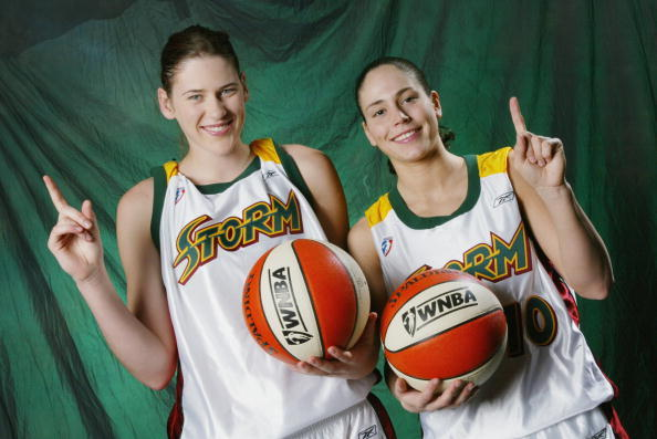 SEATTLE - MAY 19: Lauren Jackson #15 and Sue Bird #10 of the Seattle Storm pose for a studio portrait before the preseason game against the Utah Starzz at Key Arena in Seattle, Washington on May 19, 2002. The Starzz won 70-68. NOTE TO USER: User expressly acknowledges and agrees that, by downloading and/or using this Photograph, User is consenting to the terms and conditions of the Getty Images License Agreement Mandatory Copyright Notice: Copyright 2002 WNBAE (Photo by Jeff Reinking/WNBAE/Getty Images)