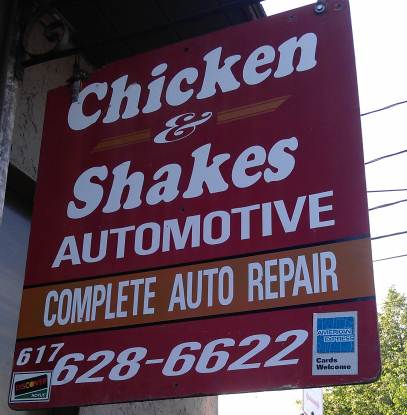 They don't serve food here, but you will get your car fixed. And then you can go get food!
