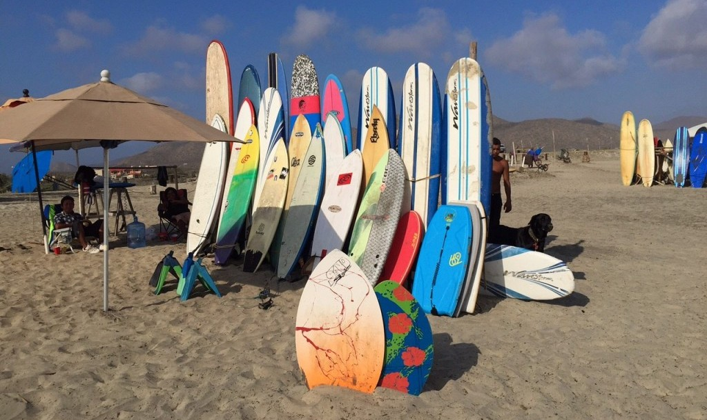 surfboards in Pescadero, Mexico