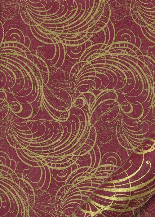 lokta arabesques or fond rouge fonce 50x75