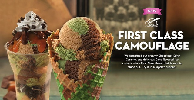 FAST FOOD NEWS BaskinRobbins First Class Camouflage Ice Cream