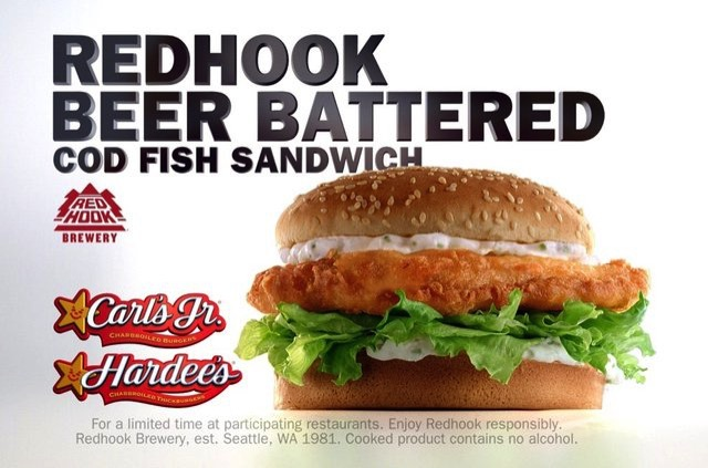 Carls Jr Hardees Redhook Beer Battered Cod Fish Sandwich