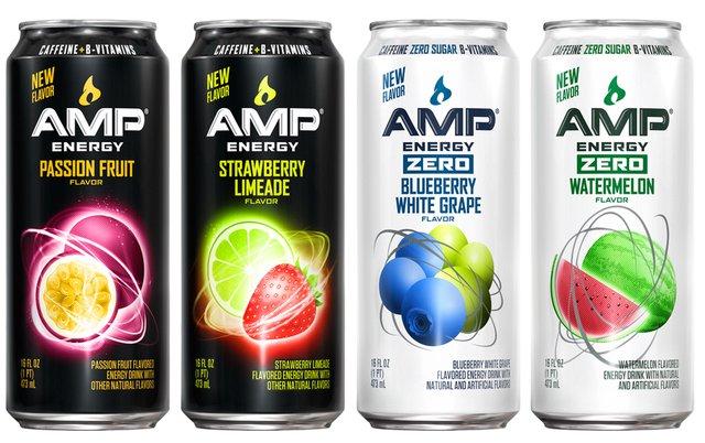 AMP Energy  Passion Fruit Strawberry Limeade Zero Blueberry White Grape and Zero Watermelon