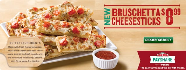 Papa John s Bruschetta Cheesesticks