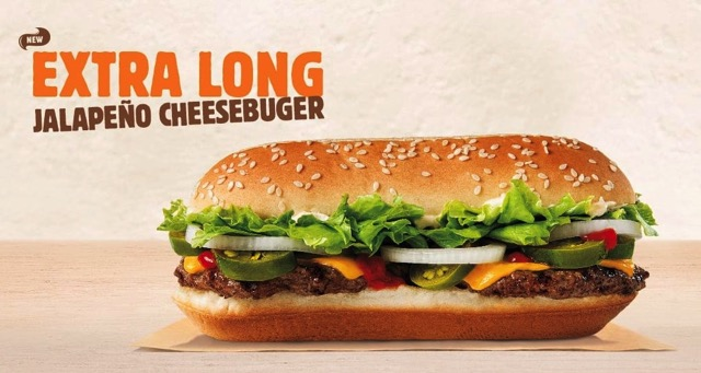 Burger King Extra Long Jalapeno Cheeseburger