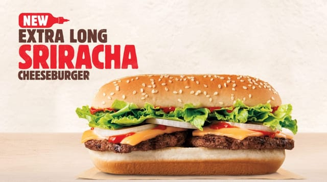 Burger King Extra Long Sriracha Cheeseburger