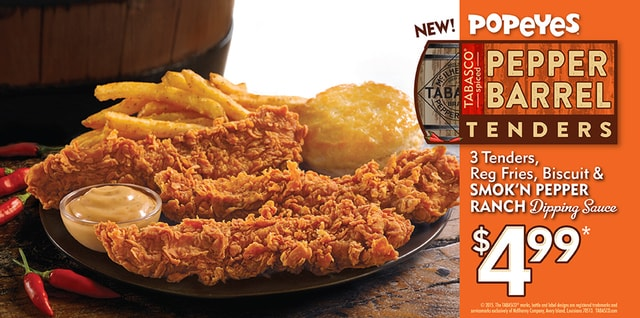 Popeyes Tabasco Spiced Pepper Barrel Tenders
