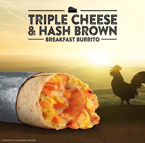 Jack in the Box Triple Cheese  Hash Brown Breakfast Burrito