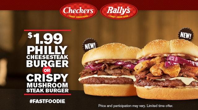 Checkers Rally s Philly Cheesesteak Burger and Crispy Mushroom Steak Burger