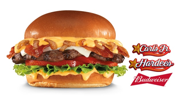 Carl s Jr and Hardees Budweiser Beer Cheese Bacon Burger