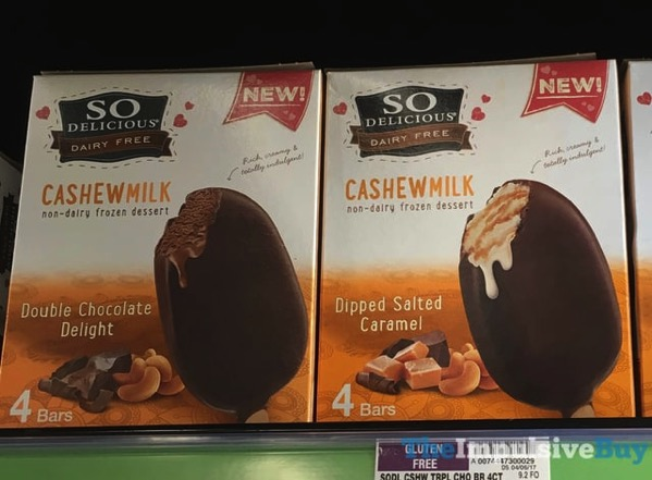 So Delicious Cashewmilk Non Dairy Frozen Dessert Bars  Double Chocolate Delight and Dipped Salted Caramel