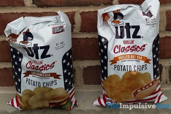 Utz Grillin Classics Potato Chips  Cheeseburger and Grilled Hot Dog