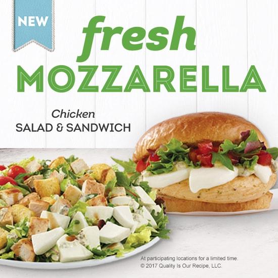 Wendy s Fresh Mozzarella Chicken Sandwich and Salad