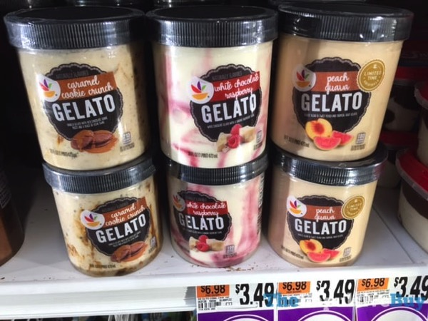 Giant Gelato  Caramel Cookie Crunch White Chocolate Raspberry and Peach Guava